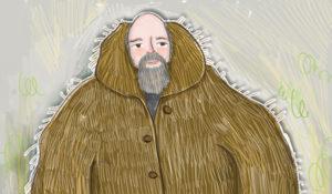 Man in a fuzzy coat